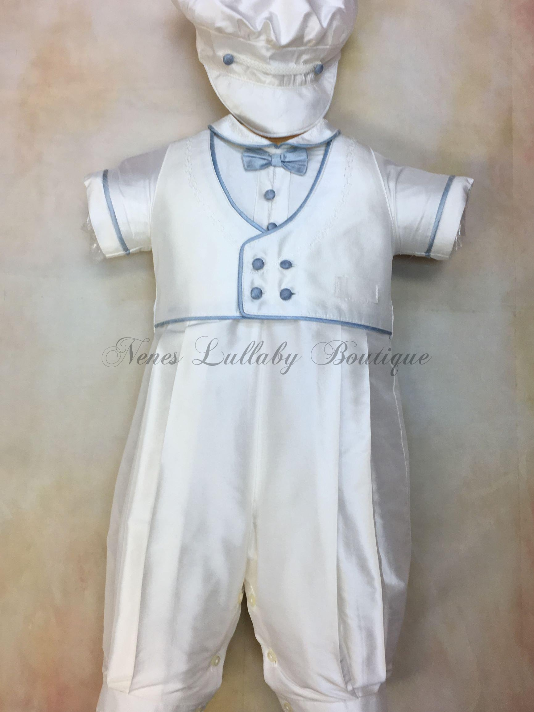 Blue Willie white silk Christening outfit by Piccolo Bacio Bacio  PB_Blue_Willie_ws_ss_lp - Nenes Lullaby Boutique Inc