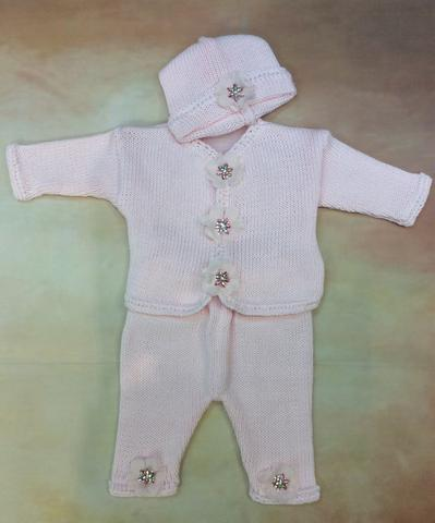 CPK673LP Baby Girl Pink Cotton Cardigan Pant Hat set jewel button with Marabou trim - Nenes Lullaby Boutique Inc