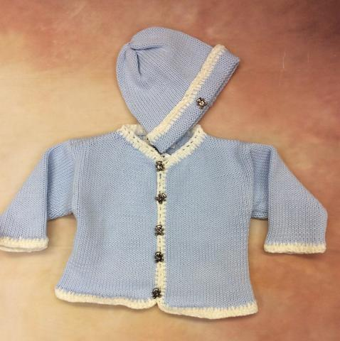 CK601BW Baby Boys Cardigan & matching hat / fancy silver bear buttons - Nenes Lullaby Boutique Inc