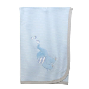 HBCBB03 Boys sky blue strip with elephant pattern blanket