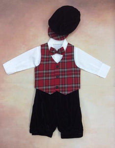 C564 Boys Christmas Plaid / velvet knicker set with matching newsboy cap - Nenes Lullaby Boutique Inc