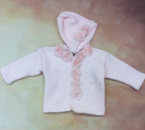 CK621PF Baby Girl Pink Cardigan and Hat set Rolled Flower button - Nenes Lullaby Boutique Inc