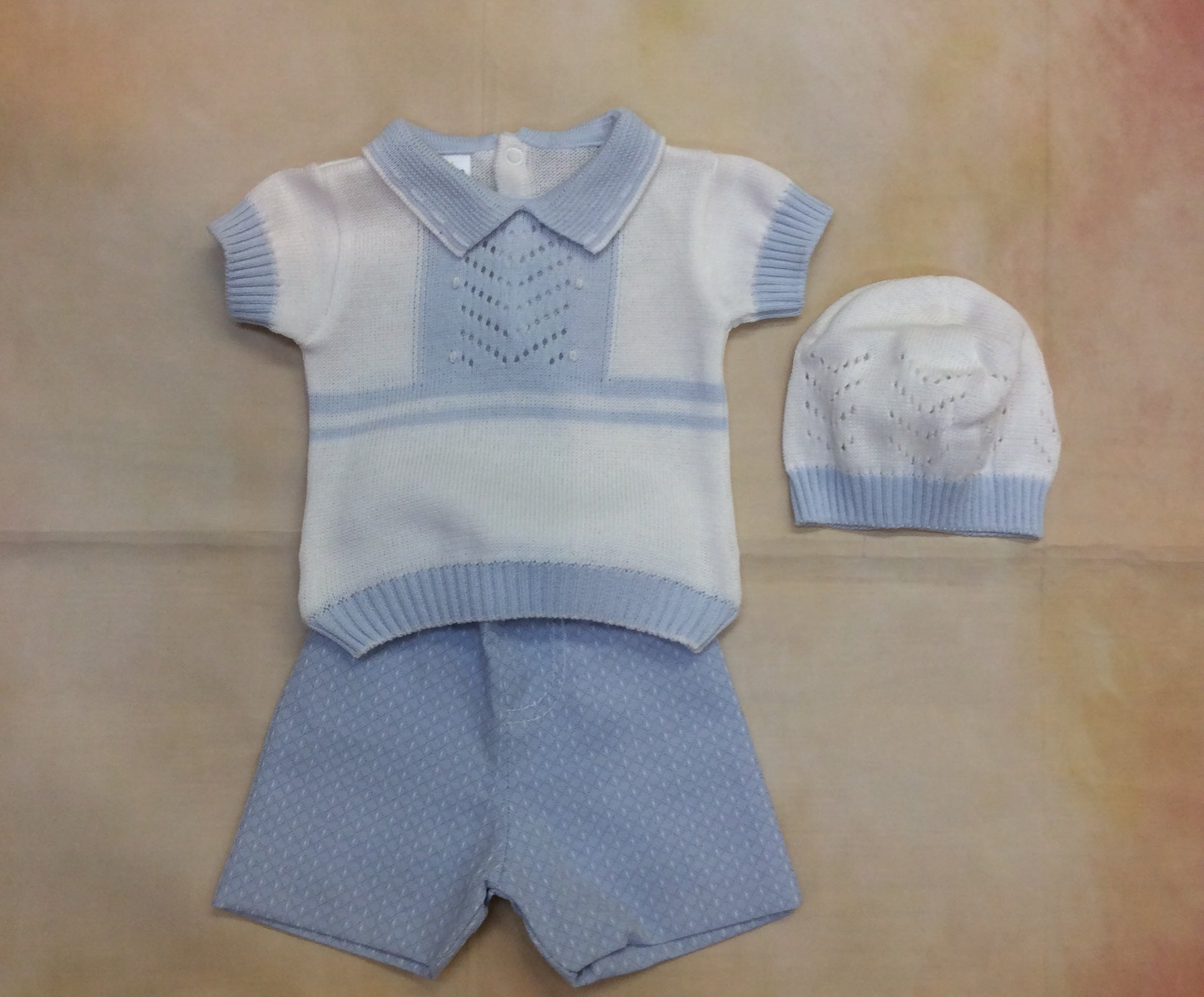 DG22SS19/CUEN180W Boys White & sky blue knit top and short - Nenes Lullaby Boutique Inc