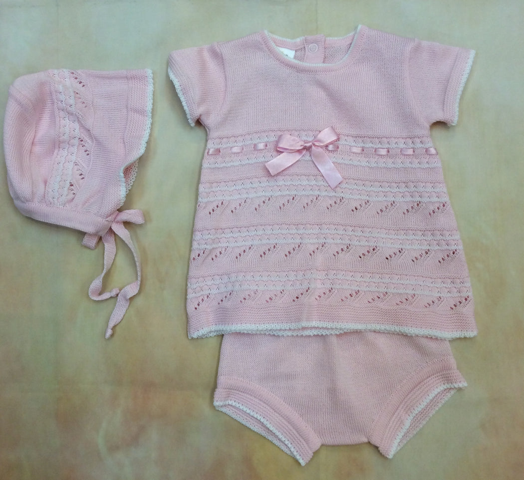 DG48SS201LIB250G 100% Cotton summer knit Dress&panty & bonnet set