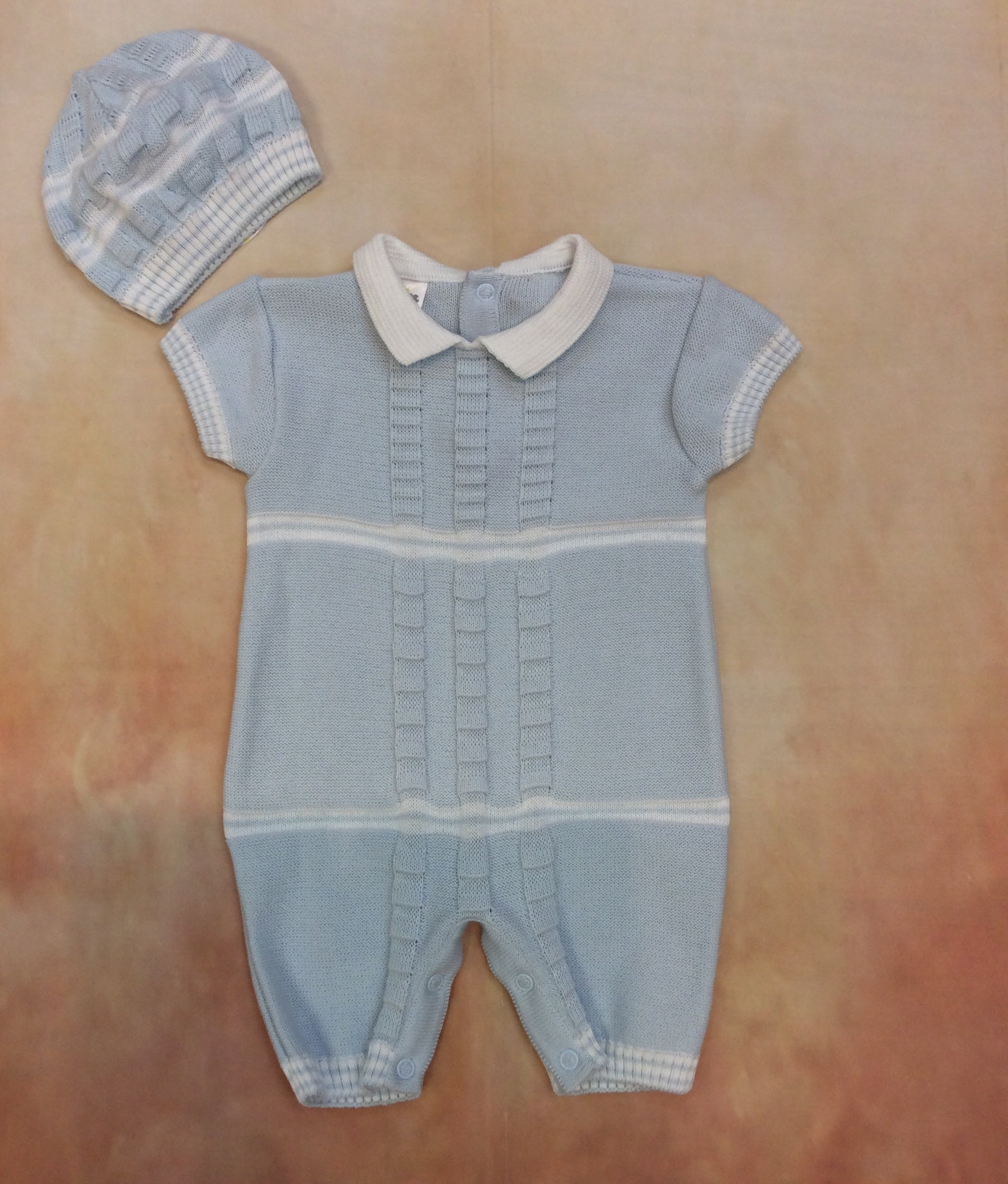DG67SS20UN000360 Boys sky blue & white knit jumper & Hat - Nenes Lullaby Boutique Inc