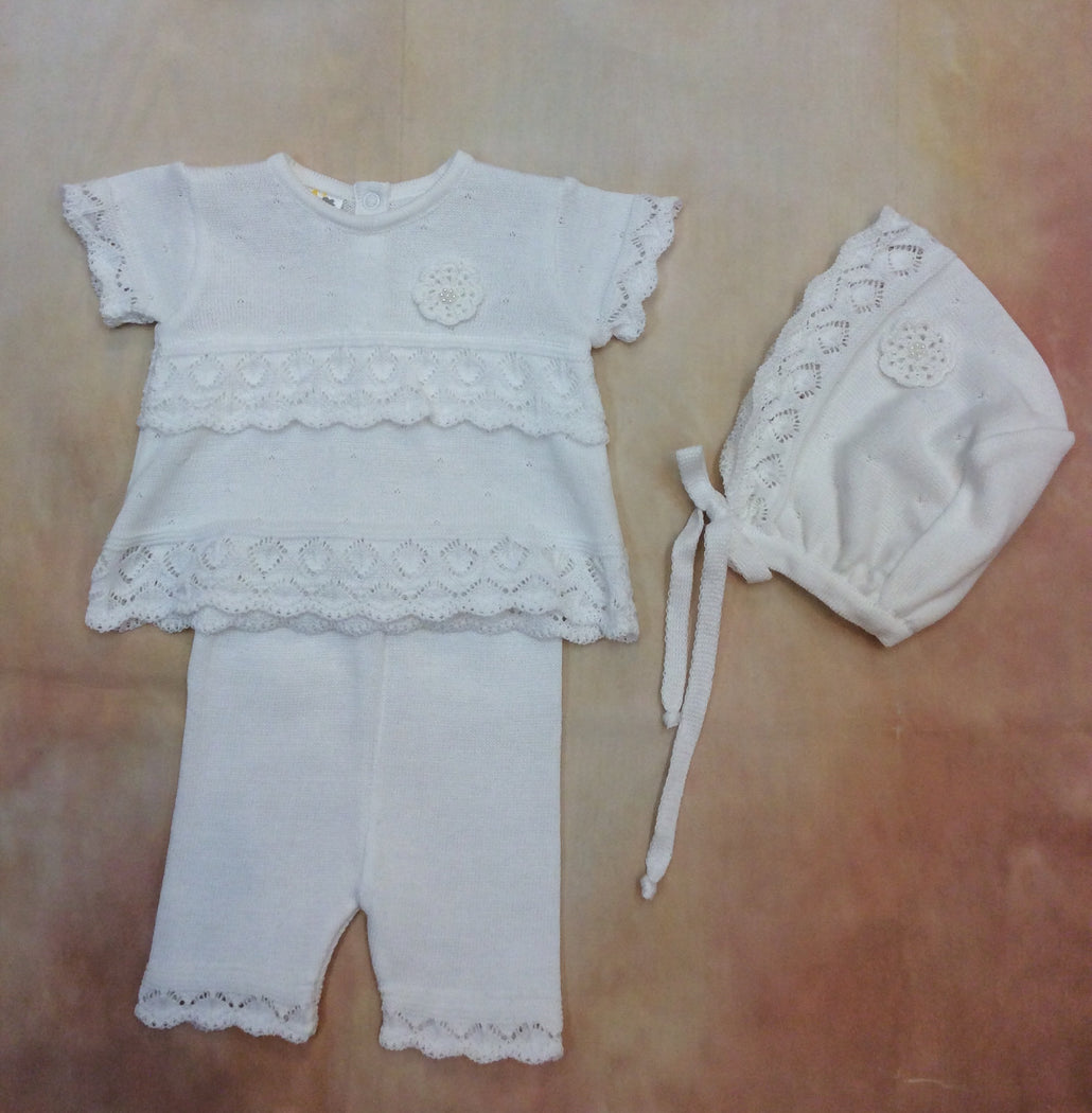 DG88SS20QUA260AA 100% White knit Tunic Dress & leggings with bonnet