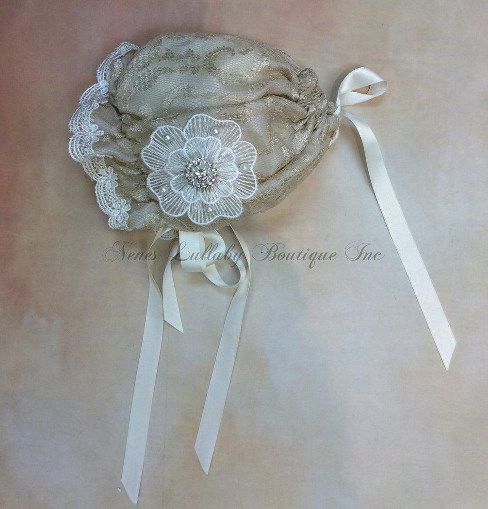 Audrey Baby Girl Vintage Lace  Bonnet - Nenes Lullaby Boutique Inc