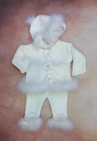 CPk35x Baby Girl White Chenille Cardigan Pant Hat set with Marabou trim - Nenes Lullaby Boutique Inc