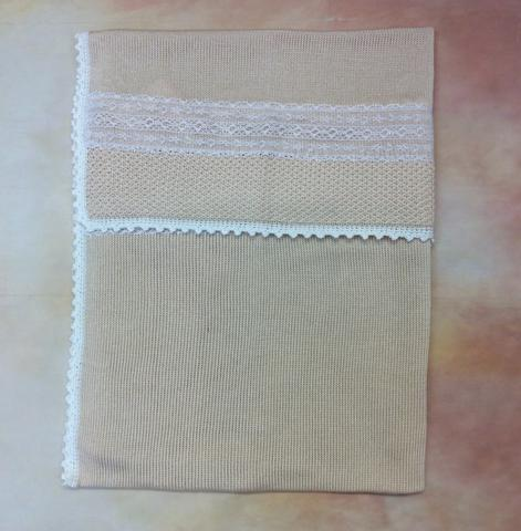100% Ivory / lace Pima Cotton Baby Girl Blanket - Nenes Lullaby Boutique Inc