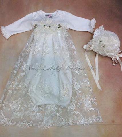 Elise Baby  Girl Lace Take home gown with matching Bonnet Set by Katie Rose - Nenes Lullaby Boutique Inc