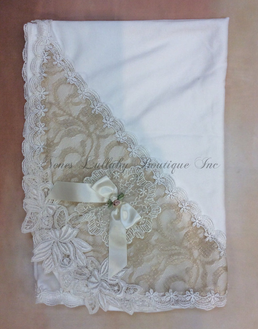 Leah Vintage lace with rolled flower accents baby girl receiving blanket - Nenes Lullaby Boutique Inc