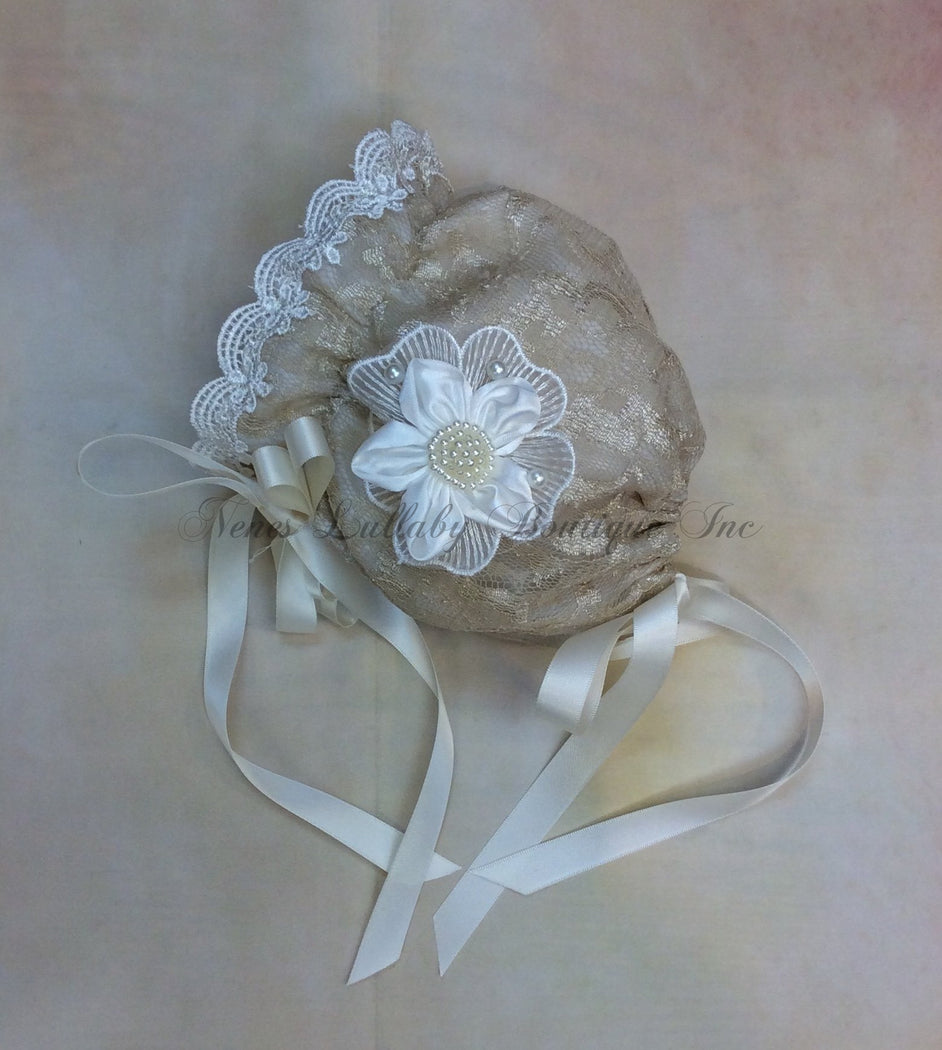 Erin Baby Girl Vintage Lace Bonnet - Nenes Lullaby Boutique Inc