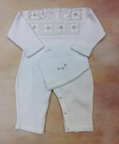 infant white girl 100% Cotton baby fine knit romper - Nenes Lullaby Boutique Inc