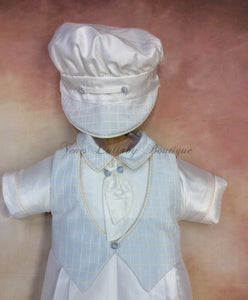Felix_ws_ss_lp boy 100% white silk with waffle sky blue vest short sleeve/long pant matching newsboy cap