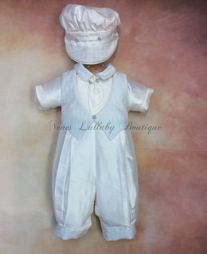 Felix_ws_ss_lp boy 100% white silk with waffle sky blue vest short sleeve/long pant matching newsboy cap - Nenes Lullaby Boutique Inc