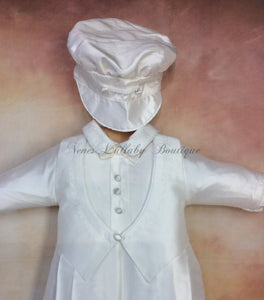 Frank 100% all white silk Christening outfits long sleeve/long pant with matching newsboy cap - Nenes Lullaby Boutique Inc