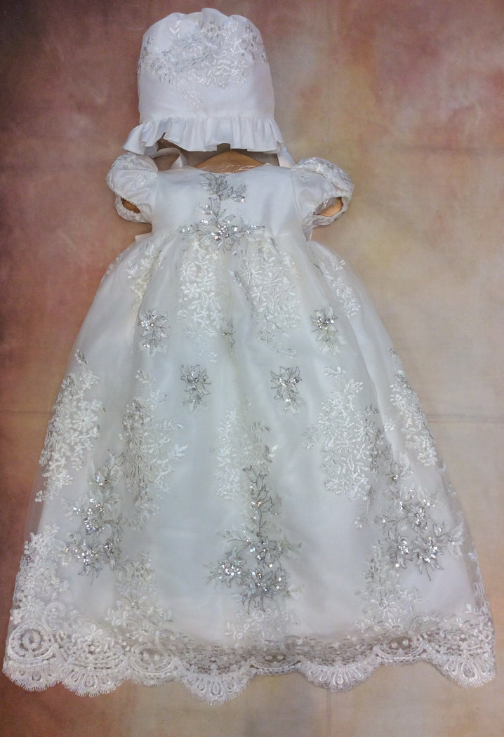 Gentil ChristeningGown made of  lace Gown with  matching Bonnet - Nenes Lullaby Boutique Inc