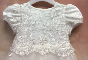 PD18137U024 Mindy Girls silver/lace Christening gowns w/matching bonnet - Nenes Lullaby Boutique Inc