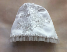 Load image into Gallery viewer, PD18137U024 Mindy Girls silver/lace Christening gowns w/matching bonnet - Nenes Lullaby Boutique Inc