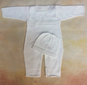 T2EG-001 Boys White with Christening / Dedication  Cross Knit - Nenes Lullaby Boutique Inc