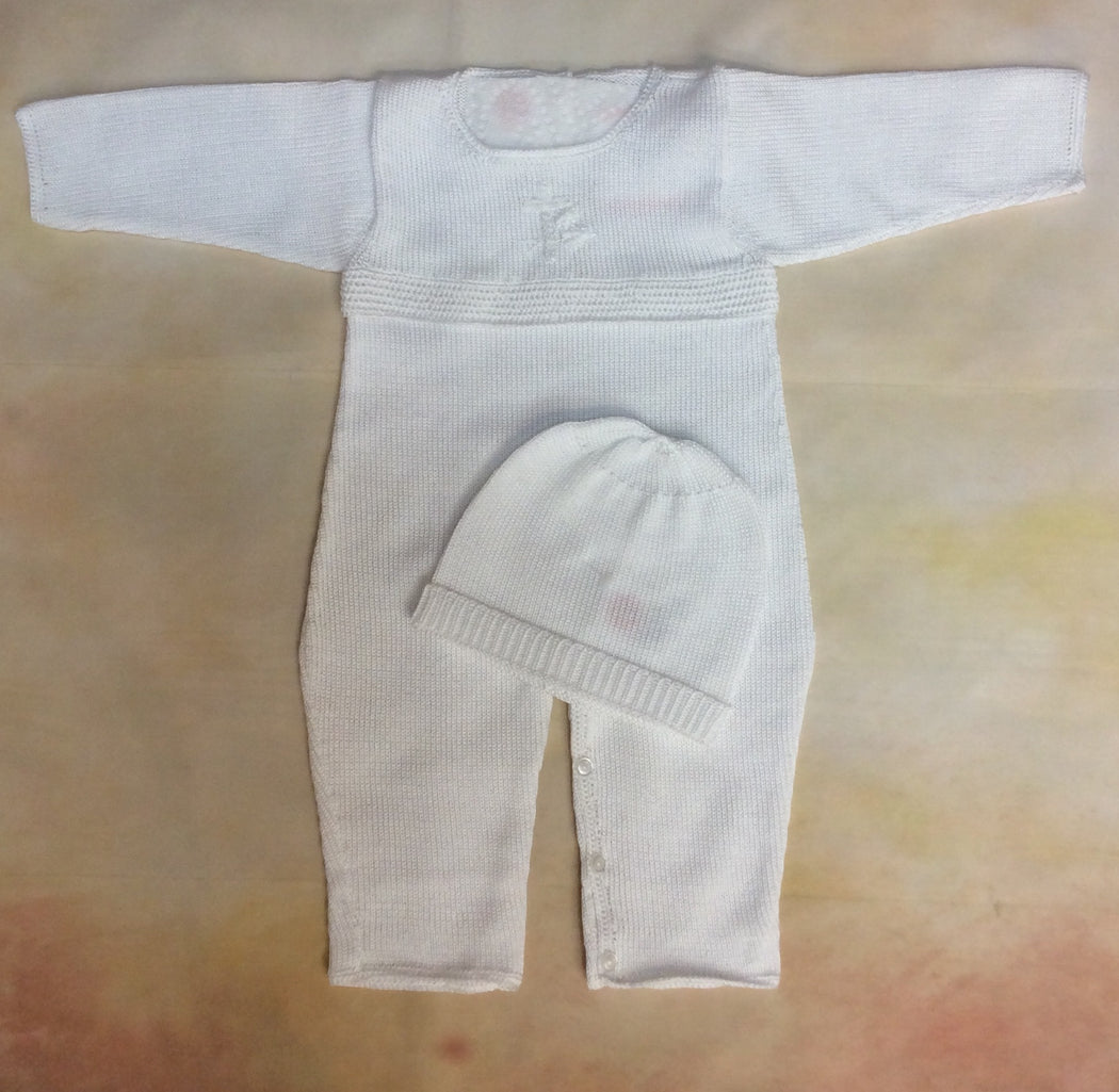 T2EG-001 Boys White with Christening / Dedication  Cross Knit