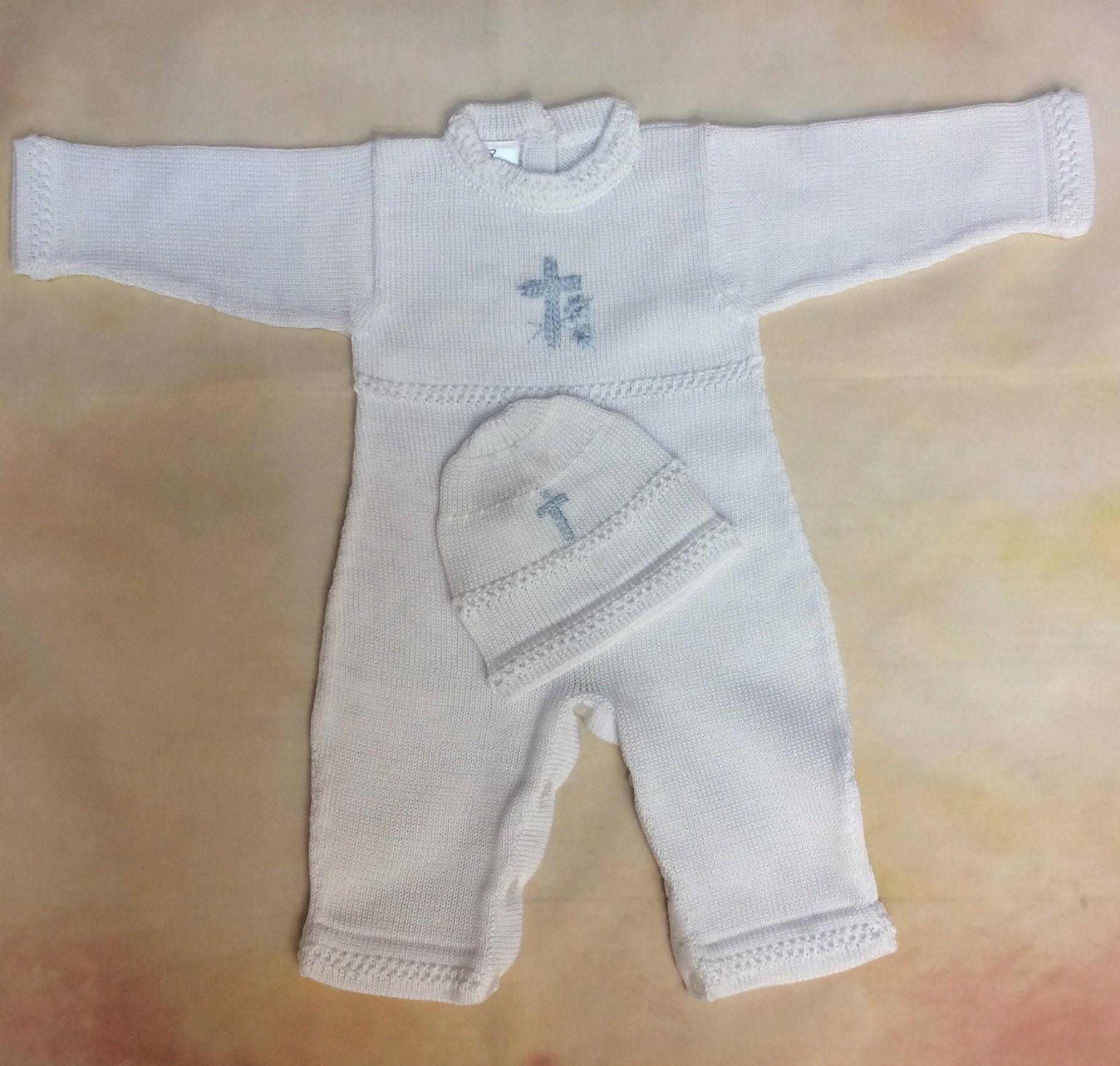 ATKSP90WB Boys Christening Knit outfit w/blue Cross long sleeve/long pant