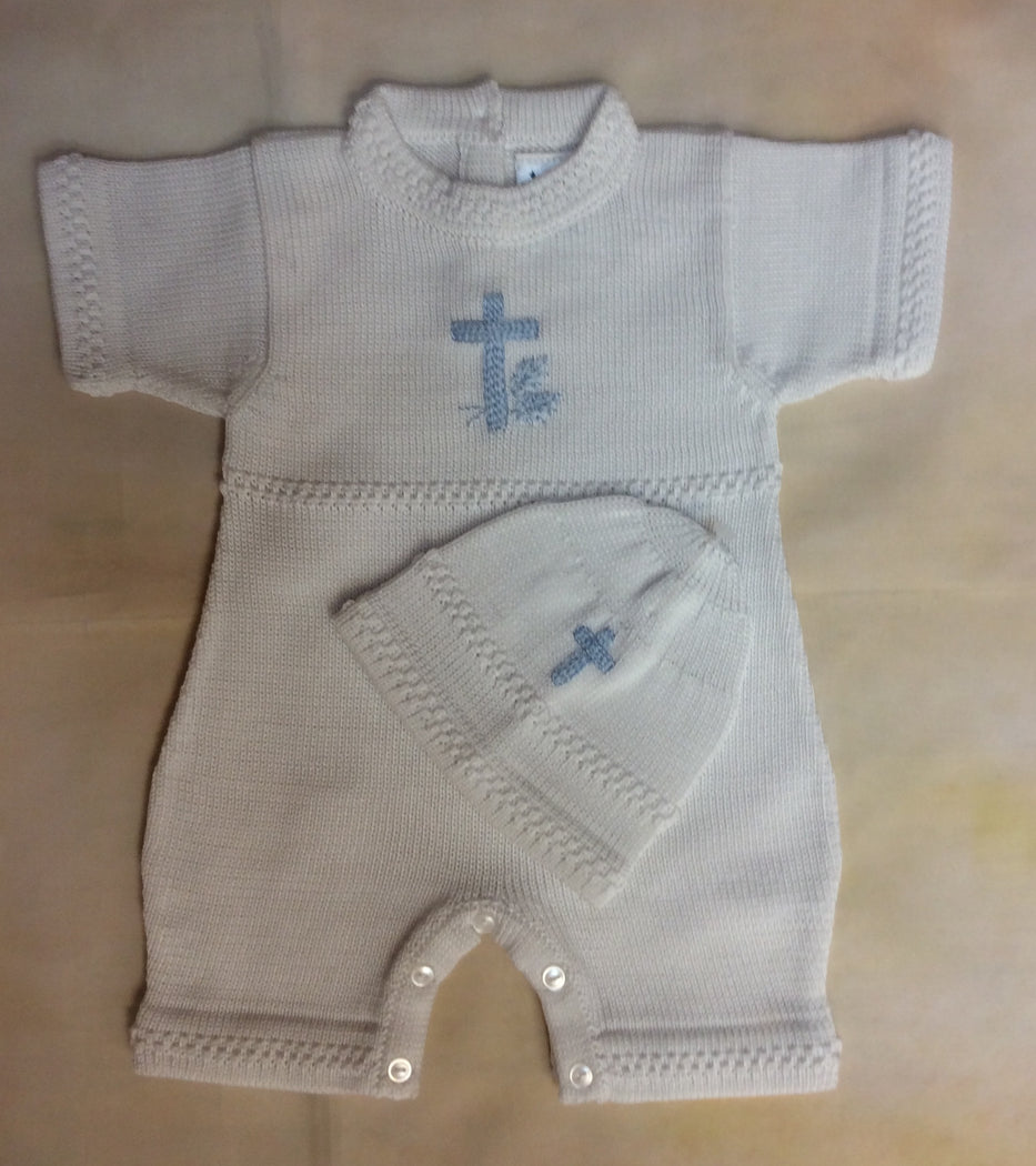 ATKSP209WB Boys Christening Knit w/blue cross short sleeve/short pant