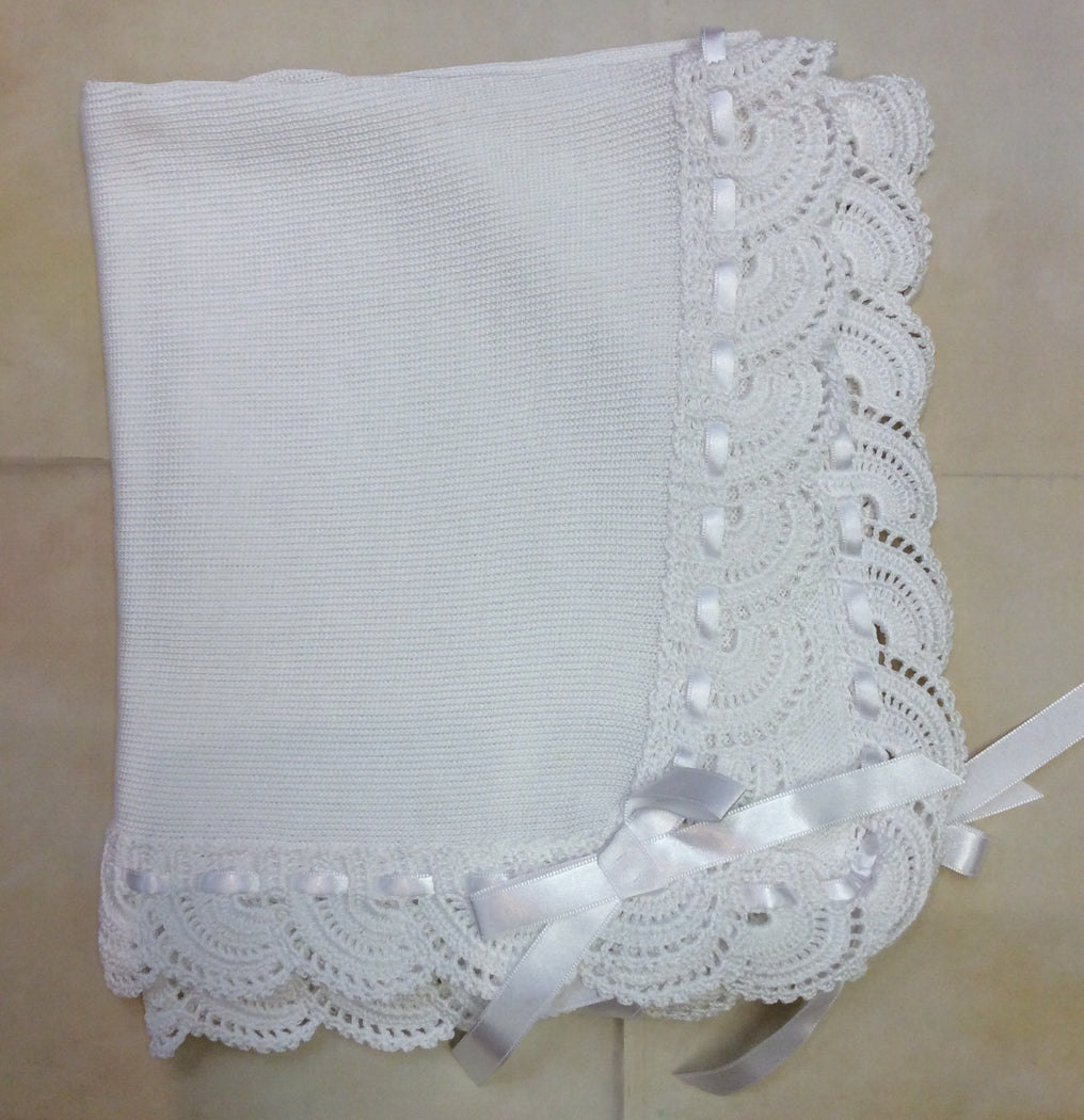 ATMM12W/W/R White 100 % Cotton Knit Blanket hand Crochet edge w/ribbon - Nenes Lullaby Boutique Inc