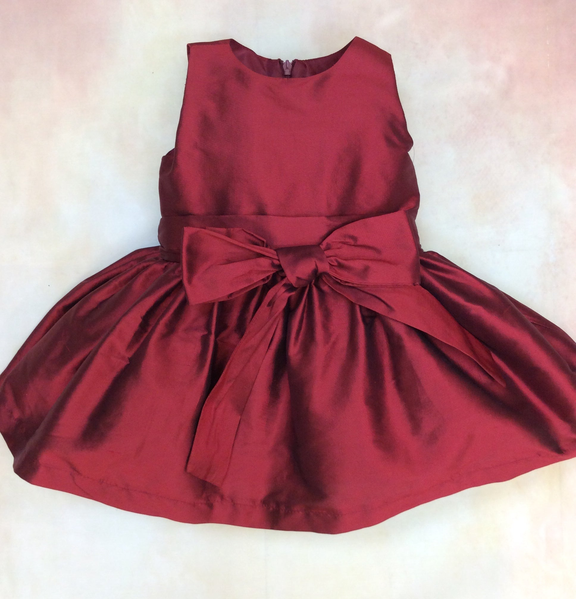 BCIC3550RD Girls Silk Red Holiday Dress Bow Front - Nenes Lullaby Boutique Inc