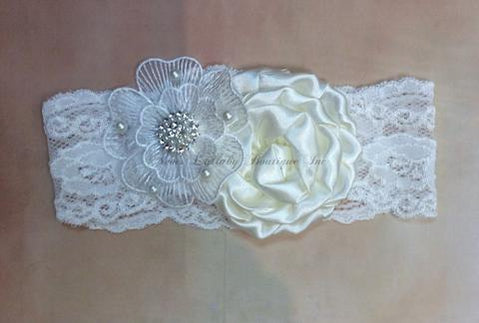 Audrey Baby Girl Vintage Lace  Headband - Nenes Lullaby Boutique Inc