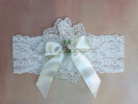 Leah Baby Girl Vintage Lace  Headband - Nenes Lullaby Boutique Inc