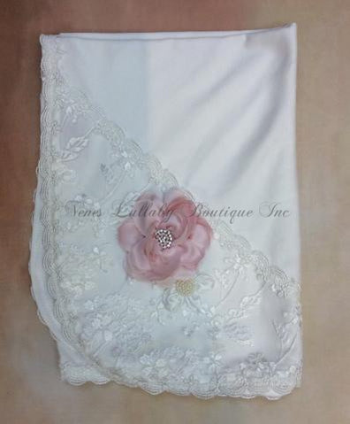 Elise Vintage lace with rolled flower accents baby girl receiving blanket - Nenes Lullaby Boutique Inc