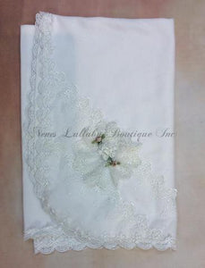 Mya Vintage lace with rolled flower accents baby girl receiving blanket - Nenes Lullaby Boutique Inc