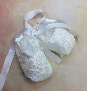 B003553 Lace diamond white covered baby infant ballet christening shoes - Nenes Lullaby Boutique Inc