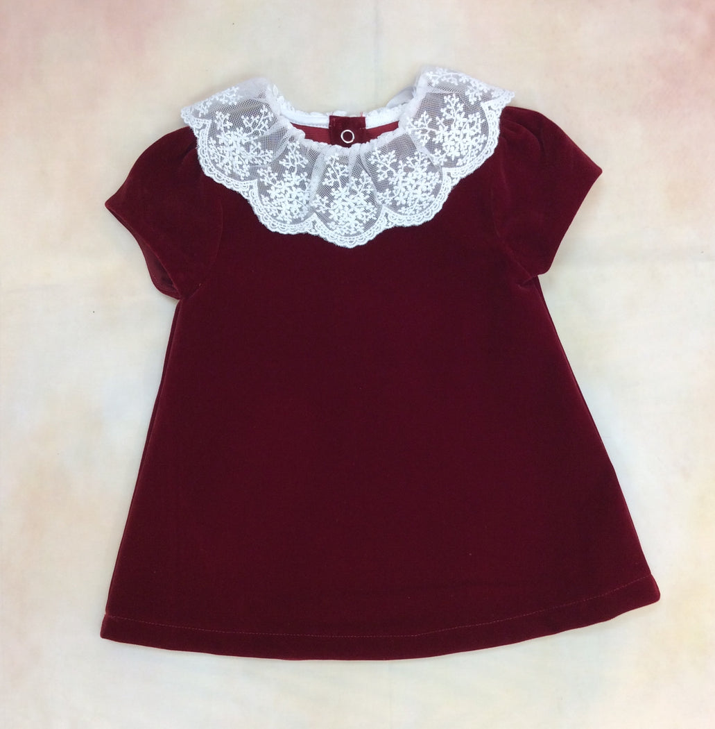 IW31023Bur Girls Christimas Holiday velvet with Lace Collar - Nenes Lullaby Boutique Inc