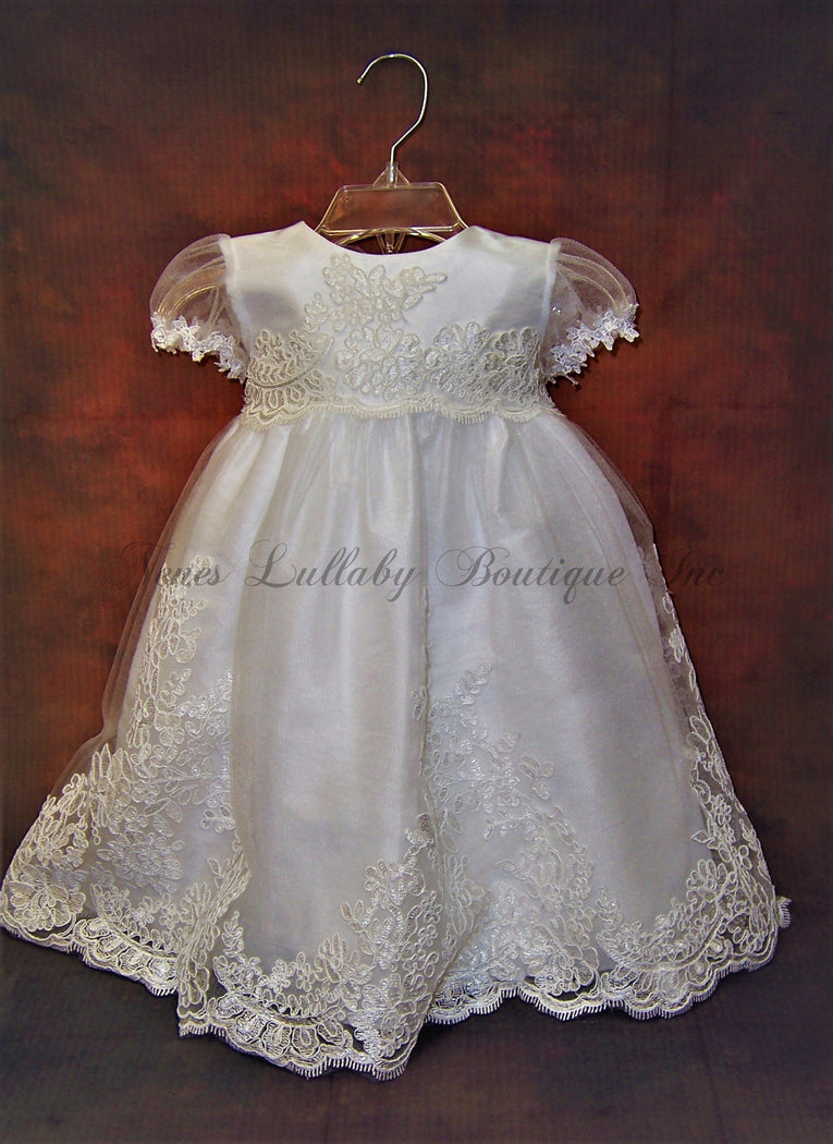 Jenna Short Christening Dress - Nenes Lullaby Boutique Inc