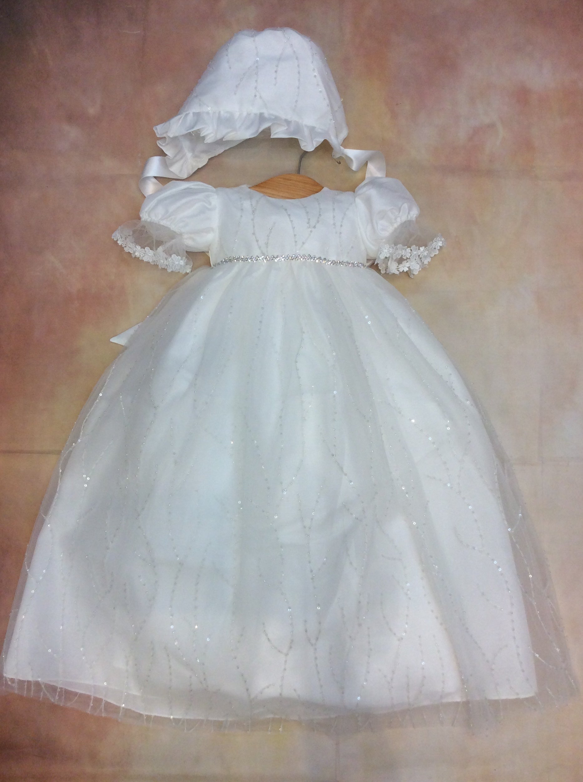 Joie Beautiful re-embroidered sequence Christening Gown With Matching Bonnet - Nenes Lullaby Boutique Inc