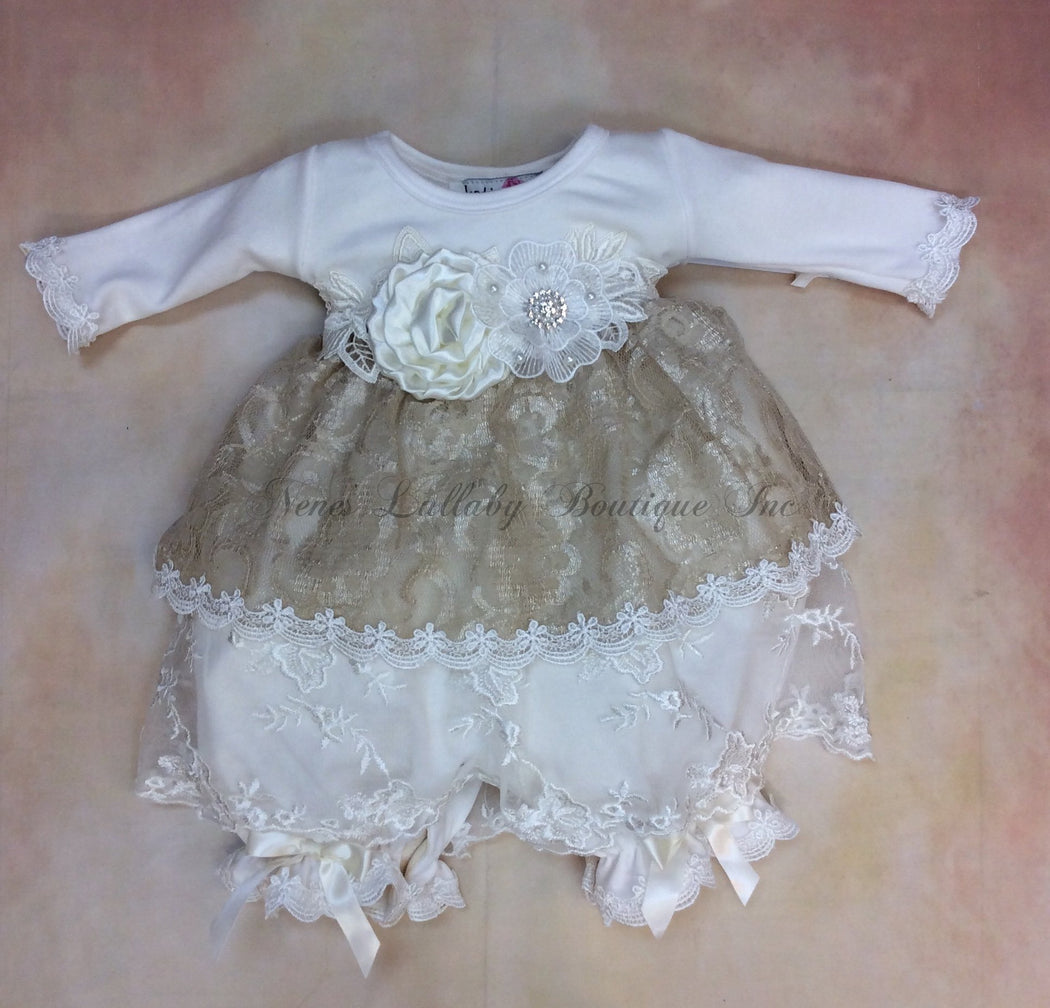 Audrey Vintage Lace baby Girl Bloomer Dress - Nenes Lullaby Boutique Inc