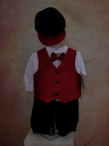 Boys Jacquard Vest Velvet Knicker Holiday Outfit with matching rider cap LKC567 - Nenes Lullaby Boutique Inc