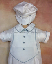 Load image into Gallery viewer, Luigi_sh_ss_sp boys Shantung w/blue pip Short Sleeve Shorts with matching newsboy cap christening outfit - Nenes Lullaby Boutique Inc