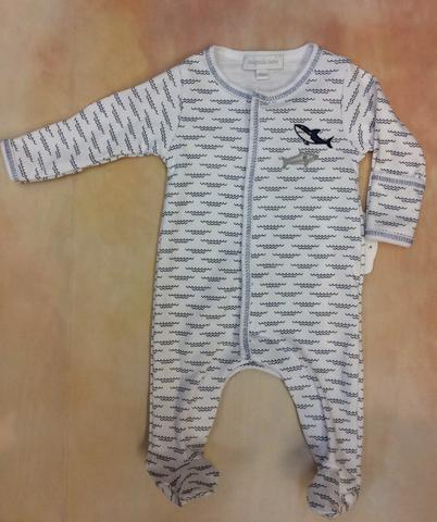 MB866-402LB Shark tooth Boys Footed layette Romper by Magnolia Baby - Nenes Lullaby Boutique Inc
