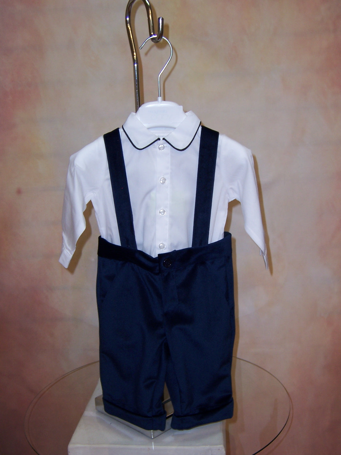 FA1007IV Boys blue Velvet knicker set