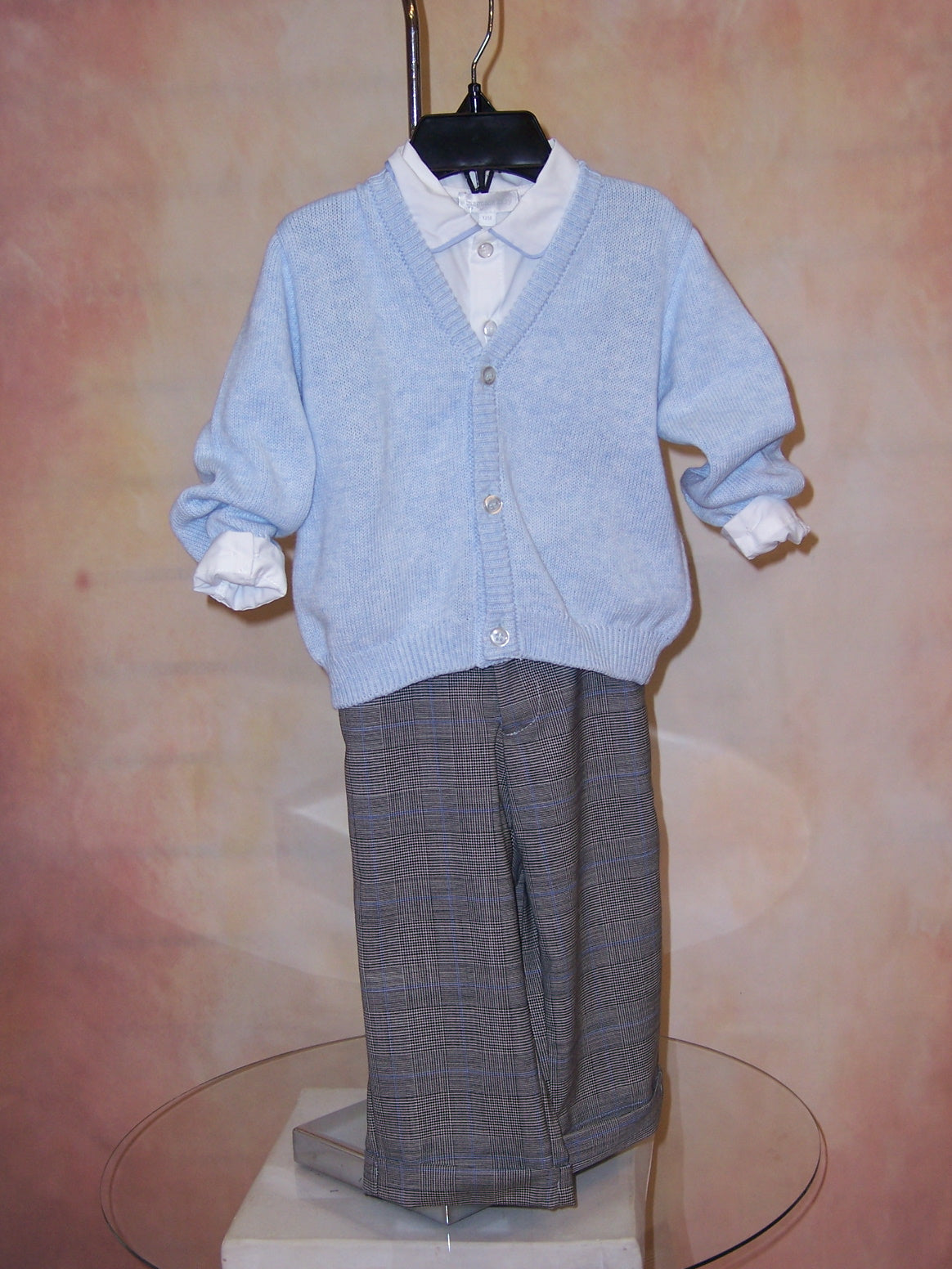 Boys Pastel Check Touser with Matching Shirt & Sweater FA30020080B - Nenes Lullaby Boutique Inc