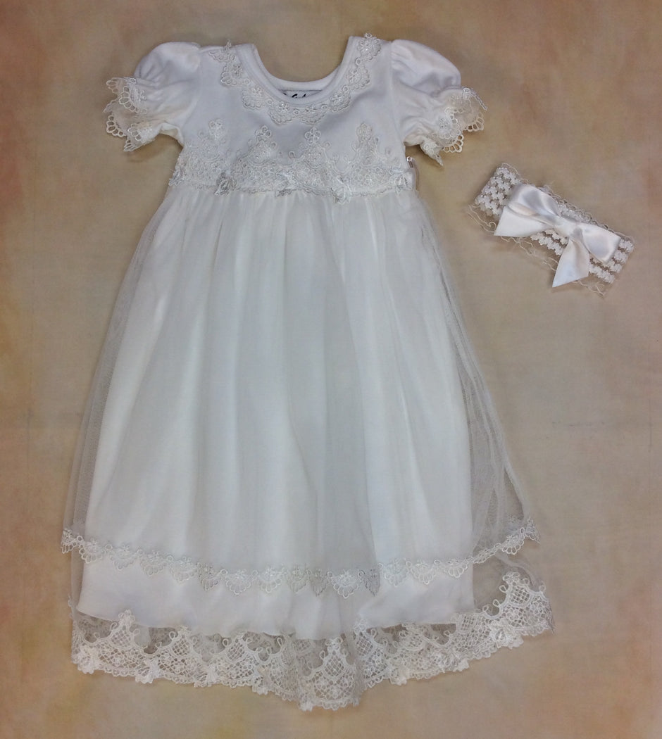 Baby Layette Dress with matching headband MD340IV