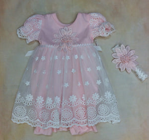 Baby Blush Layette Romper dress with matching headband Blush Pink MD3501BLP - Nenes Lullaby Boutique Inc