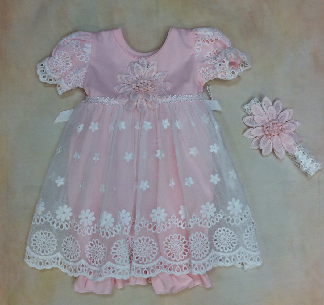 Baby Blush Layette Romper dress with matching headband Blush Pink MD3501BLP