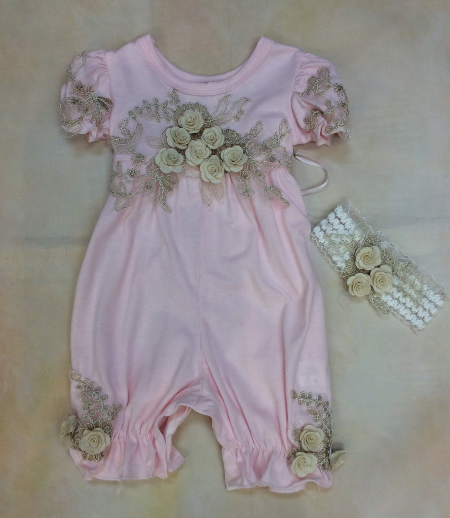 Baby Girl layette Romper with matching headband Blush/Gold