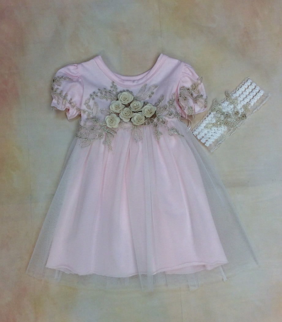 Baby Layette Dress w/matching headband MD3523