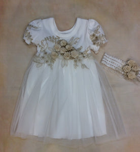 Baby Girl Layette dress with matching Headband Ivory/Gold  M3523IG - Nenes Lullaby Boutique Inc