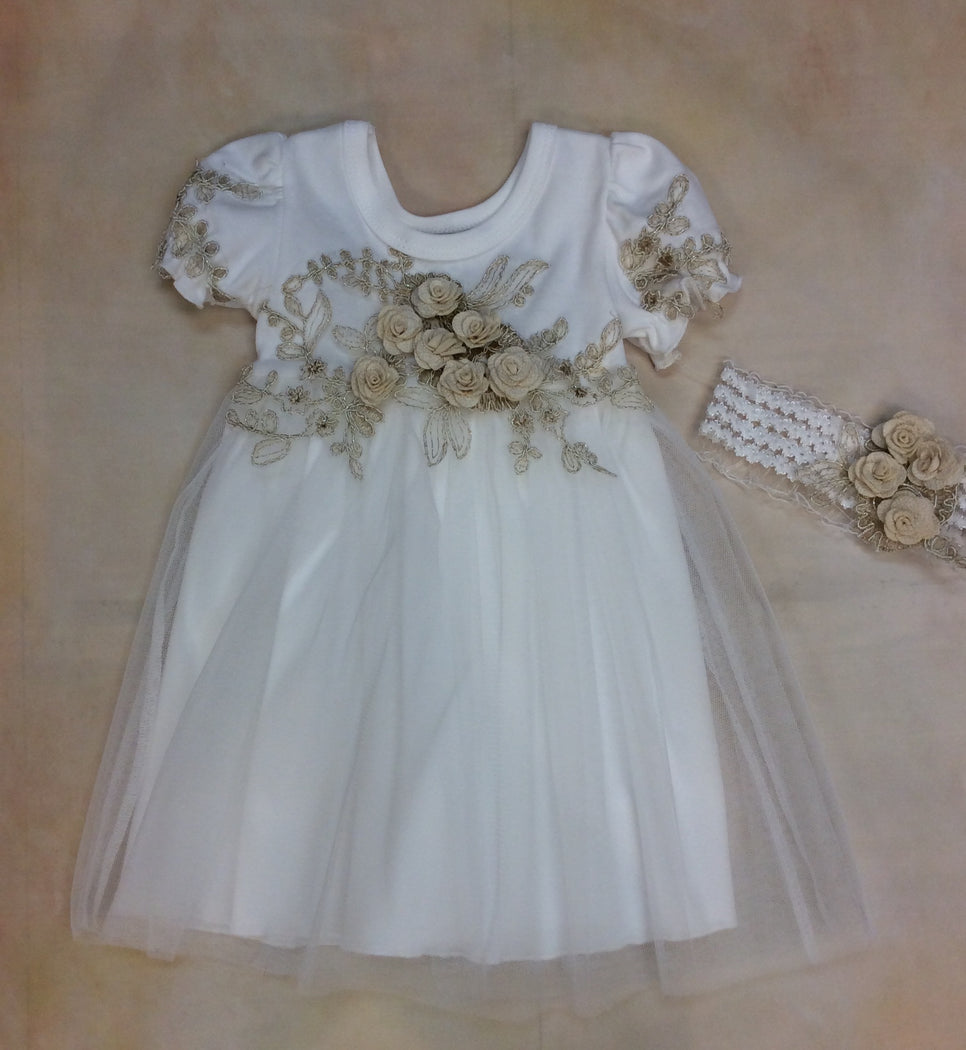 Baby Girl Layette dress with matching Headband Ivory/Gold  MD3523IG